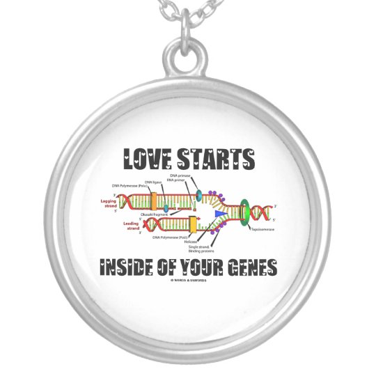 Love Starts Inside Of Your Genes (DNA Replication) Silver Plated Necklace