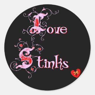 Love Stinks Anti-Valentine's Day Slogan Classic Round Sticker