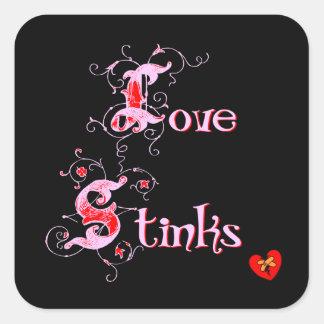 Love Stinks Anti-Valentine's Day Slogan Square Sticker