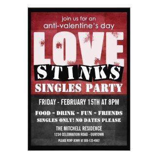 Love Stinks Anti-Valentines Singles Party Custom Invitation