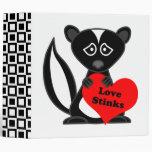 Love Stinks Cute Cartoon Skunk Holding Heart Binder