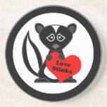 Love Stinks Cute Cartoon Skunk Holding Heart Beverage Coasters
