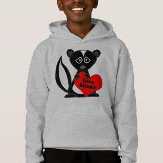 Love Stinks Cute Cartoon Skunk Holding Heart Hoodie