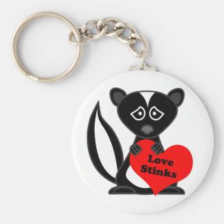 Love Stinks Cute Cartoon Skunk Holding Heart Keychain