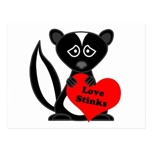 Love Stinks Cute Cartoon Skunk Holding Heart Post Cards