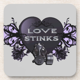 Love Stinks Heart with Gas Mask Beverage Coasters