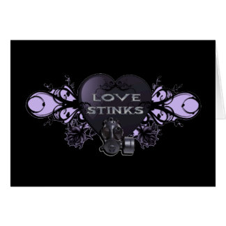 Love Stinks Heart with Gas Mask Card