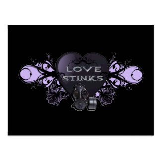 Love Stinks Heart with Gas Mask Postcard
