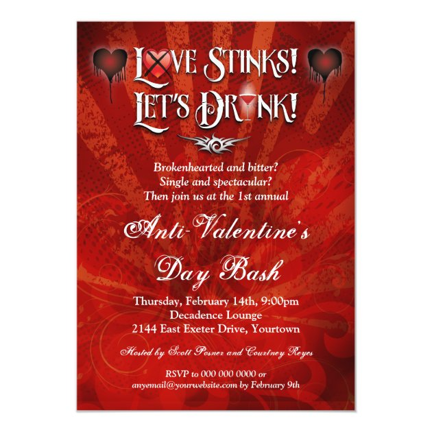 Love Stinks Lets Drink Anti Valentines Day Party Invitation Zazzle Com