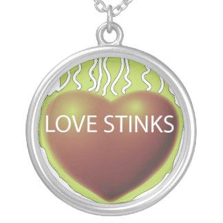Love stinks round pendant necklace
