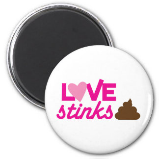 love stinks ! with poo and stink! 2 inch round magnet