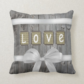 LOVE stitched on old light brown fabric Throw Pillow
