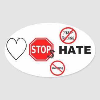 Love Stops Hate Oval Sticker