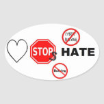 Love Stops Hate Oval Stickers