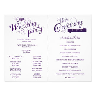 Love Story Wedding Program Flyer-Purple