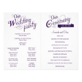 "Love Story Wedding Program Flyer-Purple 8.5"" X 11"" Flyer"