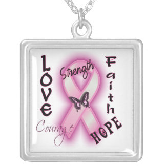 Love Strength and Courage Silver Plated Necklace