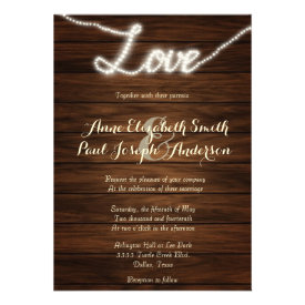 Love String lights wedding invitations Card