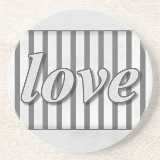 """""""Love"""" Striped Background Black and White Drink Coaster"""