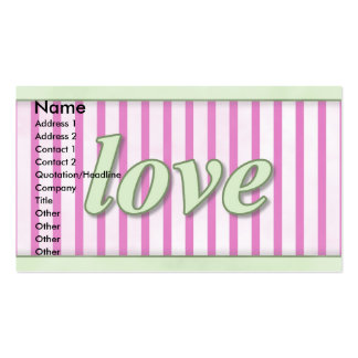 """""""Love"""" Striped Background Magenta Green Double-Sided Standard Business Cards (Pack Of 100)"""
