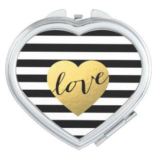 love stripes heart compact mirror