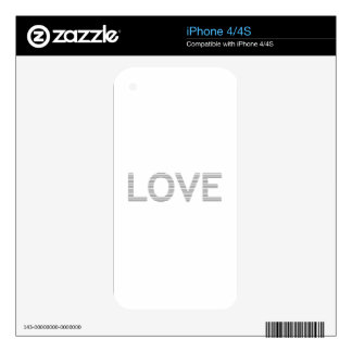 LOVE - strips - gray and white. Skins For iPhone 4