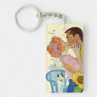 Love-Struck Double-Sided Rectangular Acrylic Keychain