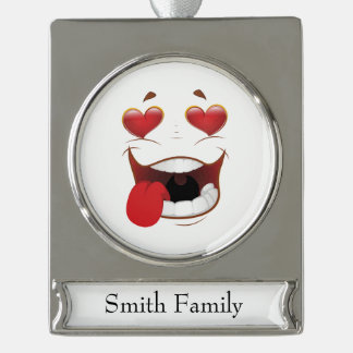 Love Struck Funny Face Silver Plated Banner Ornament