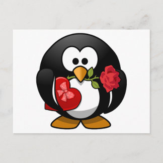 Love Struck Penguin With Valentine Gifts Holiday Postcard