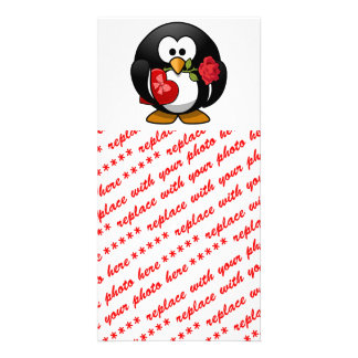 Love Struck Penguin With Valentine Gifts Photo Card Template