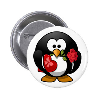Love Struck Penguin With Valentine Gifts Pinback Button