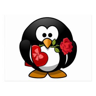 Love Struck Penguin With Valentine Gifts Postcard