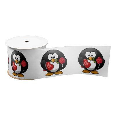 Love Struck Penguin With Valentine Gifts Satin Ribbon