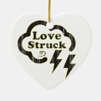 Love Struck, retro type with lightning bolt icons. Ceramic Ornament