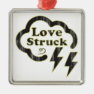 Love Struck, retro type with lightning bolt icons. Metal Ornament