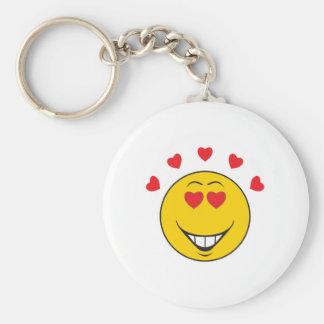 Love Struck  Smiley Face Basic Round Button Keychain