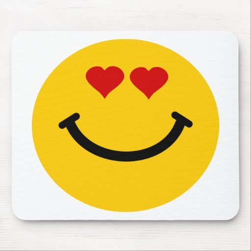 Love struck smiley mouse pad