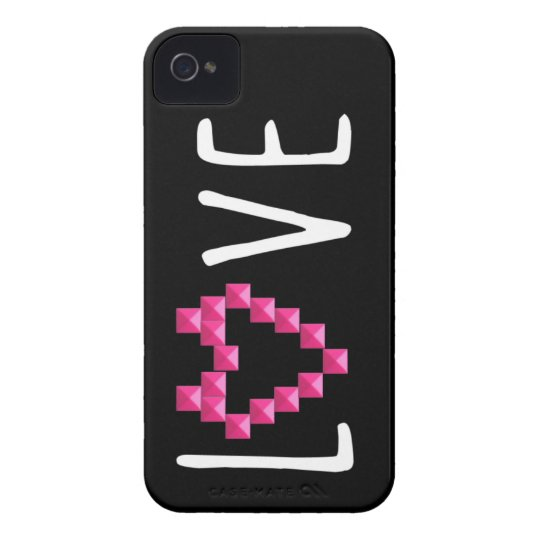 Love Studded Pink Heart iPhone 4 Case-Mate Case