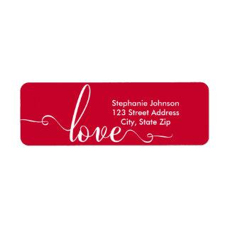 """Love"" Stylish Valentines Day Address Label"