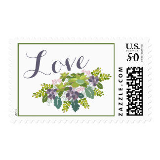 """Love"" Succulent Bouquet II Floral Wedding Postage"