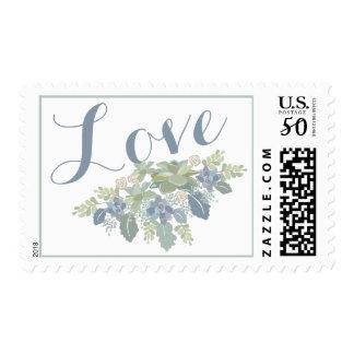 """LOVE"" Succulent Bouquet Wedding Response Postage"