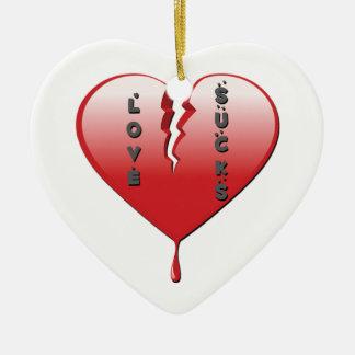 Love Sucks Broken Heart Ceramic Ornament