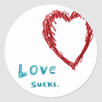 Love Sucks Classic Round Sticker
