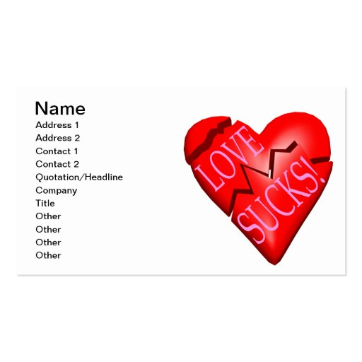 Love Sucks Double-Sided Standard Business Cards (Pack Of 100)