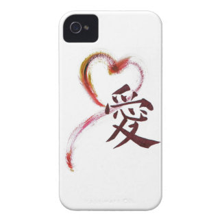Love - Sumi-e heart with Kanji character for Love Case-Mate iPhone 4 Case