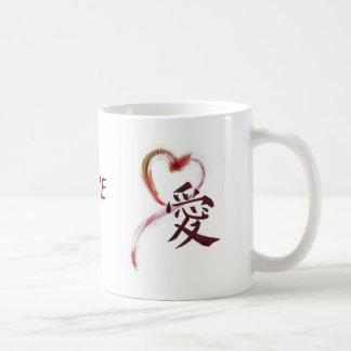 Love - Sumi-e heart with Kanji character for Love Coffee Mugs