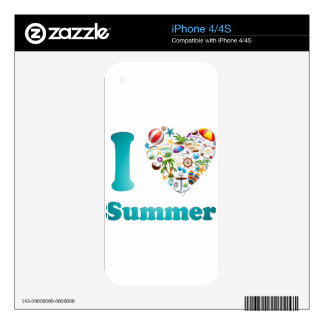 Love summer design decals for iPhone 4