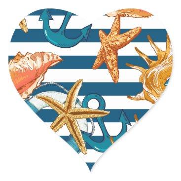 Beach Themed Love Summer Heart Sticker