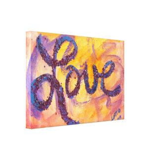 Love Sunset Golden Glow Painting Canvas Print