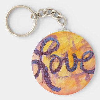 Love Sunset Golden Glow Painting Keychain